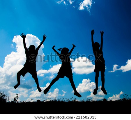 kids jumping to sky and having happy time, Silhouette concept