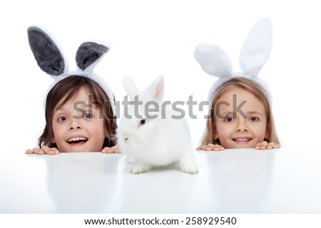 Kids looking at their white rabbit pet - wearing bunny ears, isolated - stock photo