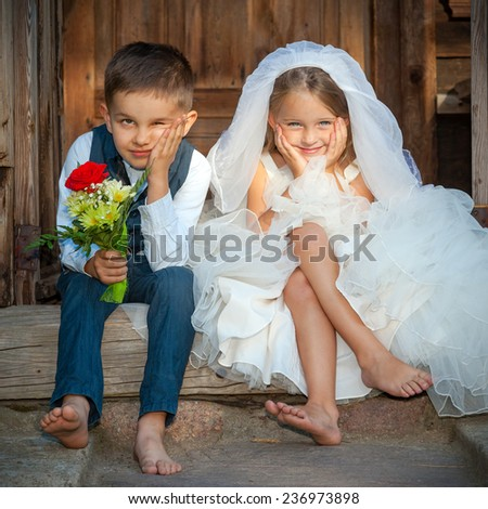 Kids Love Couple After the Wedding - stock photo
