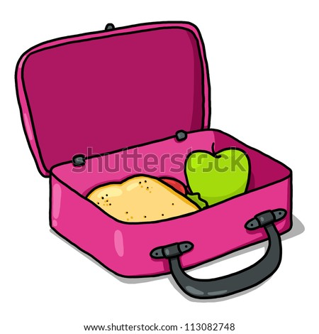 Kids Lunch Box Illustration; Pink Lunch Box Drawing; Open Lunchbox - stock photo