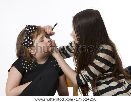 Kids make-up on white background