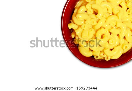 kids' meal of macaroni and cheese on white - stock photo