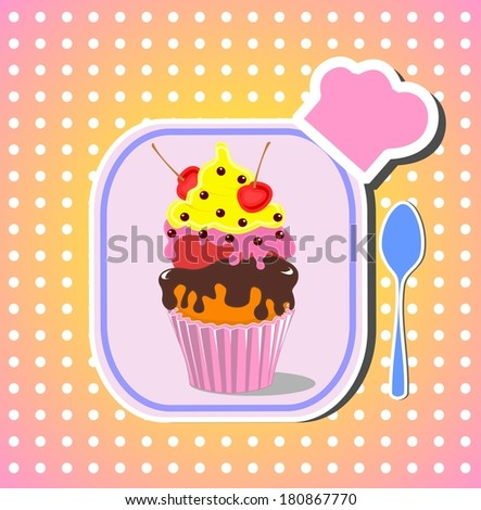 Kids menu. Beautiful cupcake with cherry on the top - stock photo