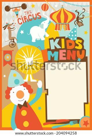 Kids Menu Template Circus Style Stock Vector 179770304 - Shutterstock