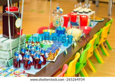 Kids party table full of appetizers and soft drinks, snacks, muffins, popcorn, candies