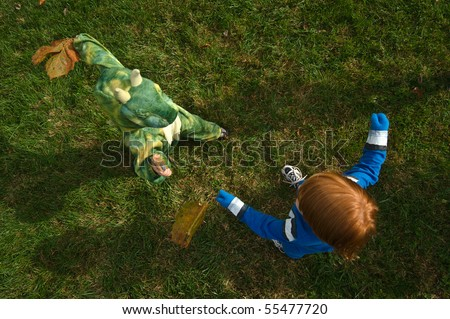 Kids Play Fighting - stock photo
