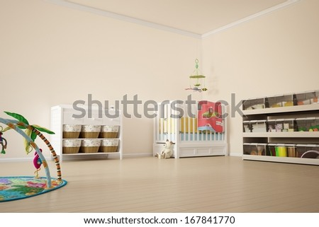 Kids play room with bed and other toys - stock photo