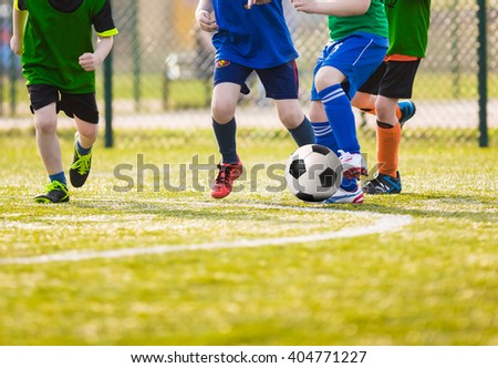 Kids play soccer football game