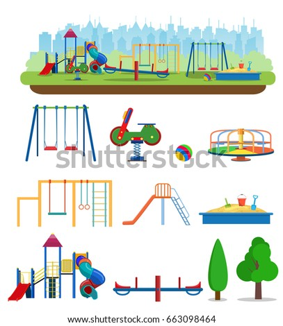 Kids Playground Buildings For City Construction Set Of Elements To Create Urban Background