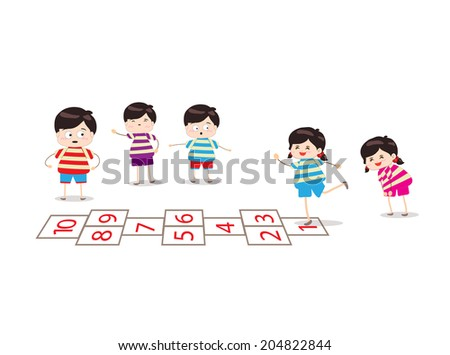 kids playing hopscotch in a playground - stock photo