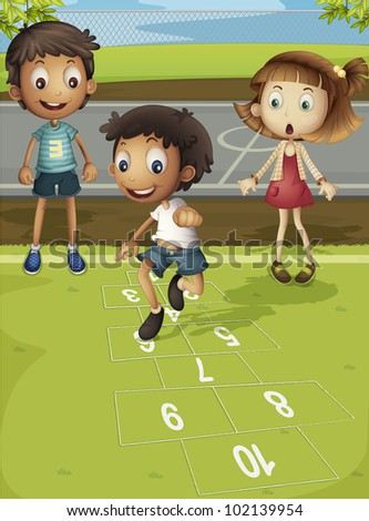 Kids playing hopscotch in park - EPS VECTOR format also available in my portfolio. - stock photo