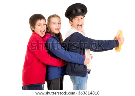 Kids playing transportation isolated in a white background - stock photo