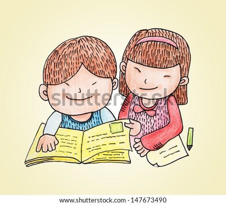 kids reading book  - stock photo