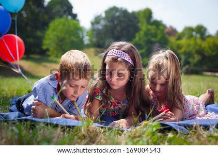 Kids reading with smile