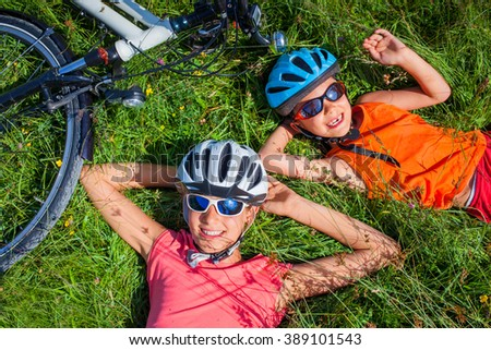 Kids resting after biking