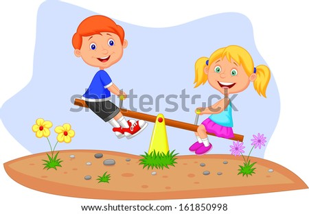 Kids riding on seesaw - stock photo