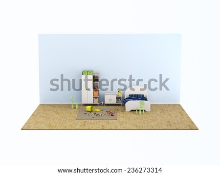 kids room bed room Interior 3d rendering image - stock photo