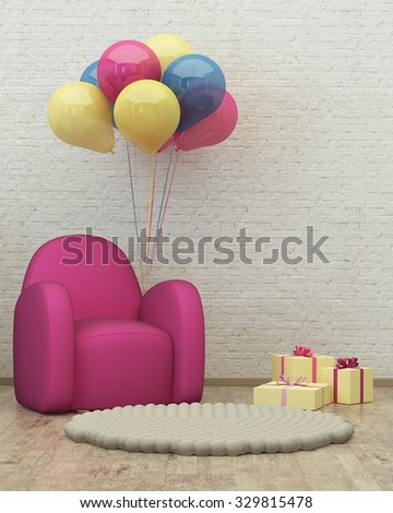 kids room interior 3d render image with armchair, balloons and presents - stock photo