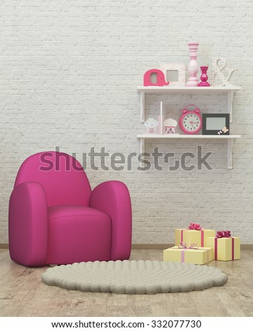 kids room interior 3d render image with armchair, decor and presents - stock photo