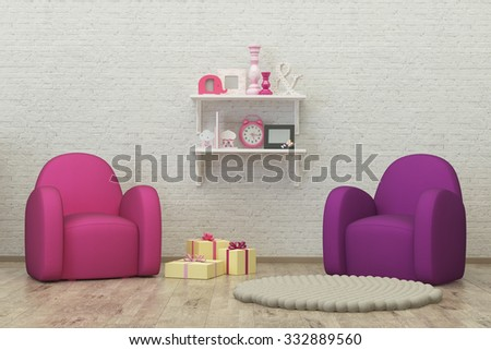 kids room interior 3d render image with colorful armchairs, presents and decoration - stock photo