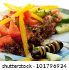 Kids Salad with Tomato and Bell Pepper - stock photo
