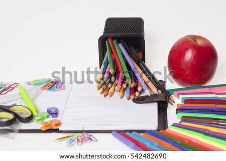 Kids school and office supplies on the table, Selective focus and small depth of field