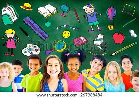 Kids School Education Toys Stuff Young Concept - stock photo