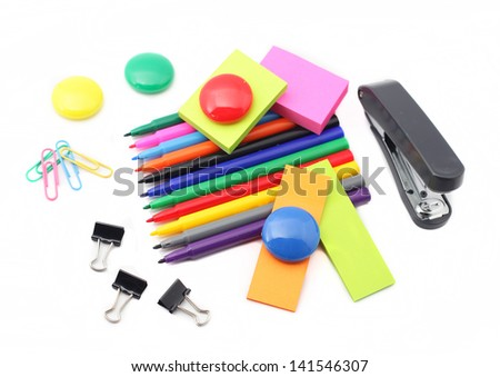 Kids school supplies isolated on white