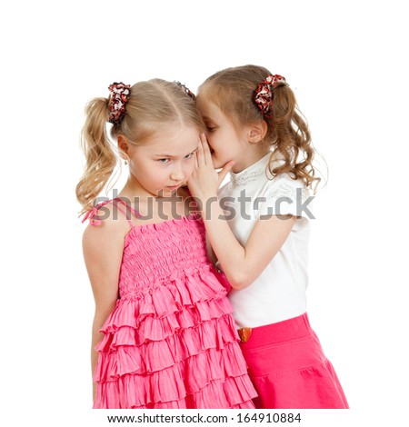 kids sharing a secret isolated - stock photo