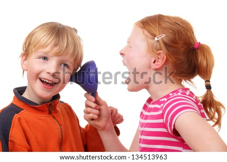Kids shouting through a cone on white background