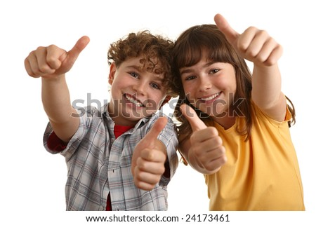 Kids showing OK sign - stock photo