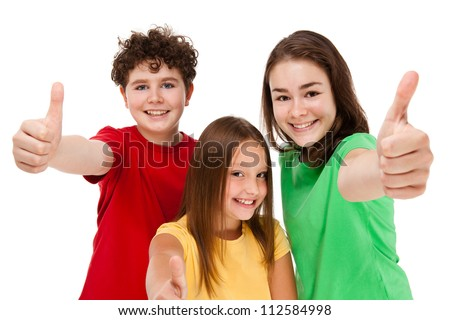 Kids showing OK sign isolated on white background - stock photo