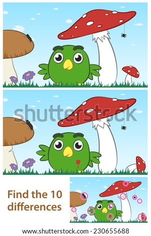Kids spot the difference educational puzzle with a cute little green cartoon bird playing amongst a field of wild mushrooms in two variations with 10 differences and a third solution - stock photo