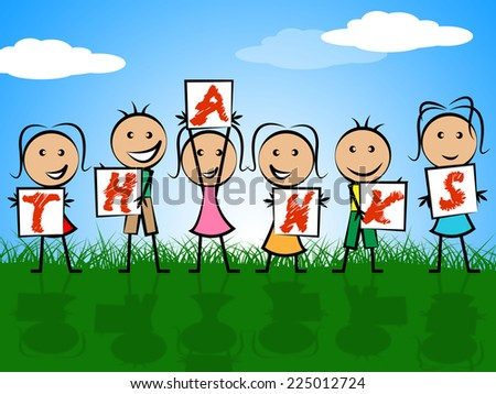 Kids Thanks Representing Gratitude Youth And Childhood - stock photo
