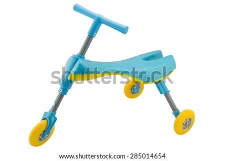 Kids tricycle scooter toy isolated with clipping path