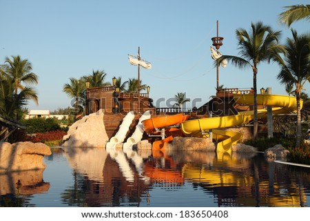 Kids water park with water slides in Dominican Republic, Punta Cana - stock photo