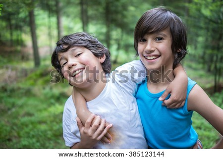 Kids welcome to the forest - stock photo