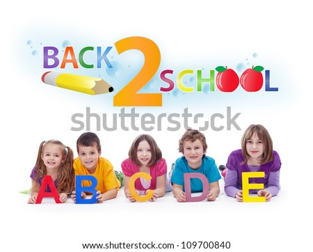 Kids with alphabet letters  - back to school and learning concept