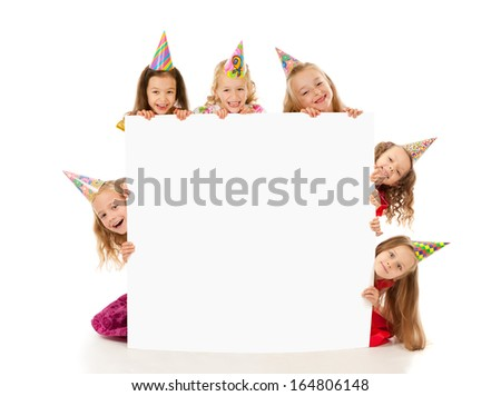 Kids with blank - stock photo
