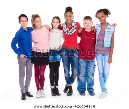 kids with different clothes standing together isolated on white background