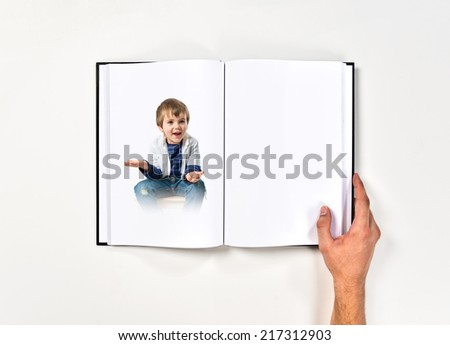 Kids with doubts printed on book