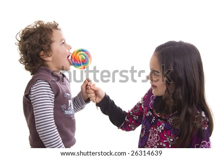 kids with lollipop on a white background - stock photo