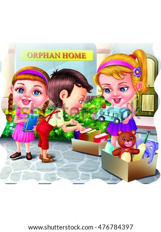 Kids with toys and books outside the orphan