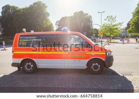 KIEL / GERMANY   JUNE 20, 2017: German Emergency Doctor Car From Fire  Department