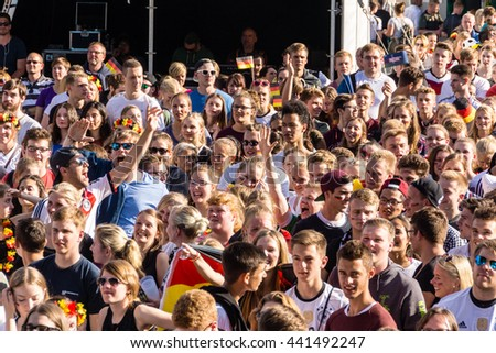 Kiel, Germany- June 21st  2016: Public Viewing of the Football Match North Ireland - Germany during the Kieler Week 2016