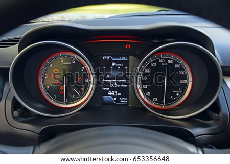 Close Shot Modern Speedometerdashboard Car Interior Stock Photo - Car image sign of dashboardcar dashboard icons stock photospictures royalty free car