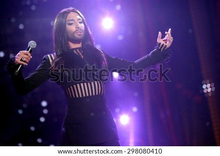 KIELCE, POLAND - JUNE 27: Austrian cross-dressing diva Conchita Wurst  sings at a concert in Kiellce, Poland on Saturday June 27 , 2015 on February 12, 2015 in Sanremo, Italy.