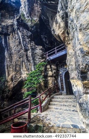 KIEN GIANG, VIETNAM - JULY 08, 2016 - An entrance to Thach Dong (which means Stone Grotto) at Ha Tien Town, Kien Giang province, Vietnam