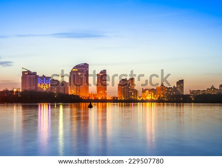 Kiev city skyline by night - stock photo