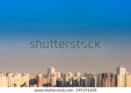 Kiev city view with blue sky, with copy space.